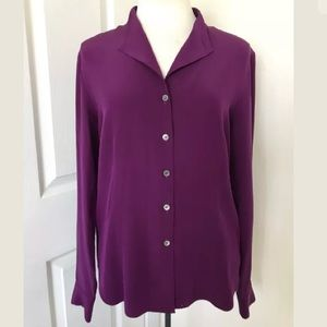 Lafayette 148 New York Button Down Silk Top Size 4